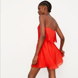 NWT's Zara Red Pleated Dress spaghetti Straps S  M